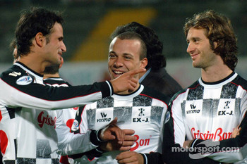 Champions for Charity football match, Ravenna's Benelli Stadium: Vitantonio Liuzzi and Jarno Trulli