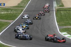 Kimi Raikkonen leads Mark Webber