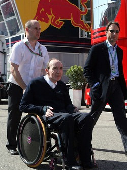 Frank Williams in front of the Red Bull Energy Station