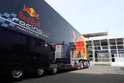 A Red Bull Racing truck in front of the Energy Station
