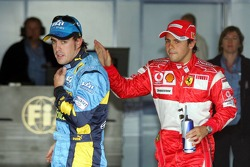 Pole winner Fernando Alonso and Felipe Massa