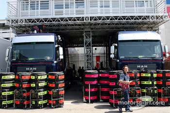 Michelin tires in front of Red Bull Racing trucks