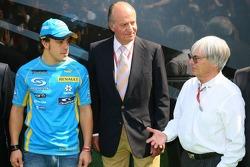 Fernando Alonso, King of Spain Juan Carlos I and Bernie Ecclestone