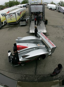 Audi Sport North America team members unpack