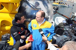 Poseidon Operation: free diver Pierre Frolla and Prince Albert of Monaco giving an interview