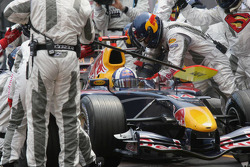 David Coulthard makes a pitstop