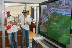 Ralf Schumacher watches Germany play in the World Cup