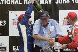 Victory podium: A.J. Allmendinger, Neil Micklewright and Sébastien Bourdais