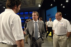 Bill Ford meets Elliott Sadler and Ken Schrader at an employee pep rally at Ford World Headquarters