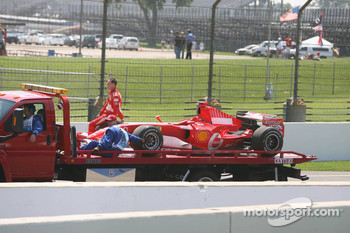 Michael Schumacher after he stopped on track