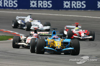 Giancarlo Fisichella, Rubens Barrichello and Ralf Schumacher