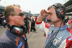 Johnny Herbert with Dominic Harlow, MF1 Racing race engineer