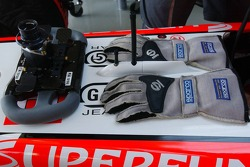 Gloves and steering wheel of Christijan Albers