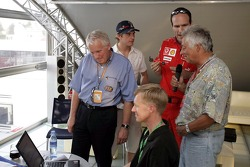 Red Bull chilled Thursday: Charlie Whiting, Scott Speed and a Ferrari crew member with a Pinewood-Derby car