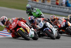 Marco Melandri leads a group of bikes