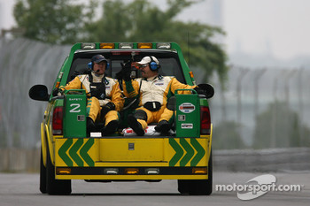 Champ Car safety crew members during a yellow