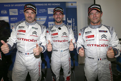 Qualifying top three, Jose Maria Lopez, Yvan Muller, Sébastien Loeb, Citroën Total WTCC
