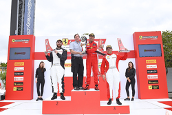 TPAM podium: winner #8 Ferrari of Ft. Lauderdale Ferrari 458, second place Arthur Romanelli, third place Carlos Conde