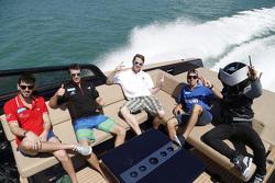 Jaime Alguersuari, Virgin Racing, Jérôme d'Ambrosio, Dragon Racing, Scott Speed, Andretti Autosport, Antonio Felix Da Costa, Amlin Aguri on a boat with the Formula E mascot