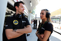 (L to R): Jolyon Palmer, Lotus F1 Team Test and Reserve Driver with Carmen Jorda, Lotus F1 Team Development Driver