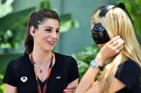 (L to R): Lucia Villalon Puras, TV Reporter and Carmen Jorda, Lotus F1 Team Development Driver