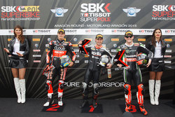 Second place, Chaz Davies, Ducati Team, Polesitter Leon Haslam, Aprilia Racing Team, third place, Tom Sykes, Kawasaki