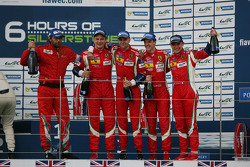 GTE Pro podium: winners Gianmaria Bruni, Toni Vilander, third place James Calado, Davide Rigon