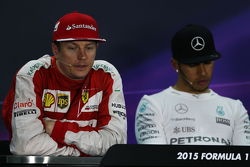 Kimi Raikkonen, Ferrari and Lewis Hamilton, Mercedes AMG F1 in the post race FIA Press Conference