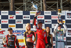 GT winners podium: First placed Olivier Beretta, Second placed Chris Dyson and third placed Ryan Dalziel