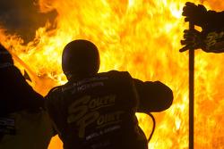Fire in Brendan Gaughan's pit stall