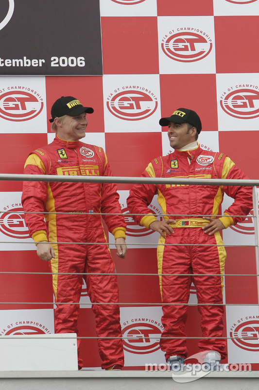 GT2 podium: third place Mika Salo and Rui Aguas