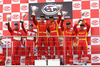 GT2 podium: class winners Matteo Bobbi and Jaime Melo, with second place Chris Niarchos and Tim Mullen, and third place Mika Salo and Rui Aguas