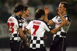 National drivers charity football match at Stadio Brianteo Stadio Brianteo: Vitantonio Liuzzi, Giancarlo Fisichella, Felipe Massa and Michael Schumacher