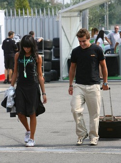 Fernando Alonso with girlfriend Raquel Rosario