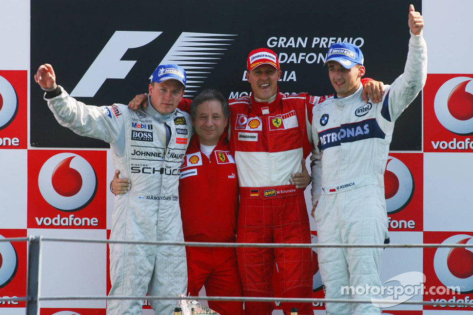 Podium: race winner Michael Schumacher with Kimi Raikkonen, Robert Kubica and Jean Todt