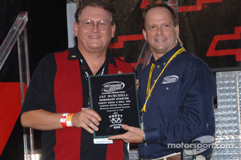 Jay Burchell receives Honorary Starter plaque from Richmond International Raceway president Doug Fritz