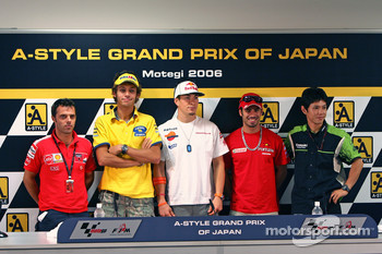 Press conference: Loris Capirossi;Valentino Rossi;Nicky Hayden;Marco Melandri and Shinya Nakano