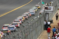 Green flag: David Gilliland and Dale Jarrett battle for the lead