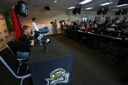 Jeff Burton talks with the media