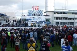 Podium: race winner Bruno Spengler with Jamie Green and Tom Kristensen
