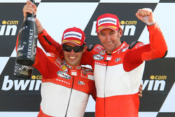 Podium: race winner Troy Bayliss with Loris Capirossi