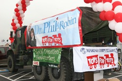 A U.S. Marine Corps truck is a collection spot for the