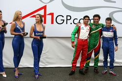 Top 3 finishers of race 1: Adrian Zaugg (1st, center), Salvador Duranand Nicolas Lapierre