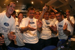 BP Ford World Rally team members celebrate 2006 World Rally manufacturers championship