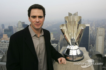 Jimmie Johnson poses for a photo on the Top of the Rock Observation Deck at Rockefeller Center