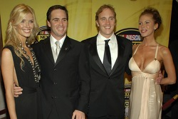 Chandra Johnson, Jimmie Johnson, Jay Mohr and Nikki Cox pose for a photo on the red carpet prior to the 2006 NASCAR NEXTEL Cup Series Awards Ceremony