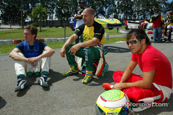 Luciano Burti with Tony Kanaan and Felipe Massa