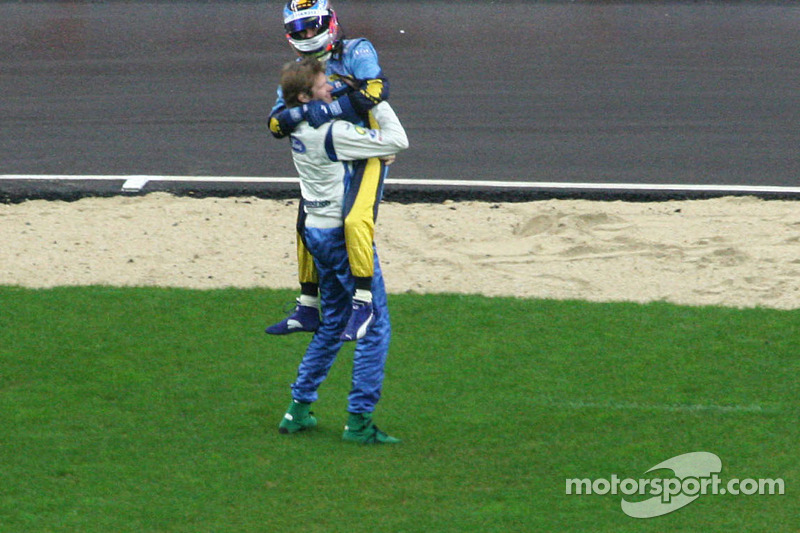 Nations Cup winners Heikki Kovalainen and Marcus Gronholm celebrate