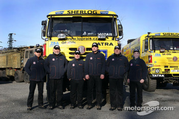 Loprais Tatra Team: Ales Loprais and Petr Gilar with Loprais Tatra team members
