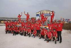 Car category podium: Team Repsol Mitsubishi Ralliart celebrates